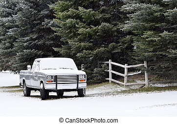 Truck in the Winter - Winter country road with truck parked...