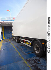 Truck inside the ferry boat - Truck inside a sea freight...