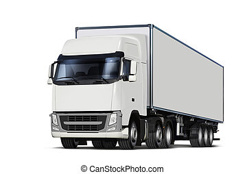 truck isolated with path