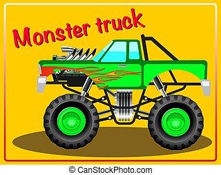truck., karikatúra, szörny
