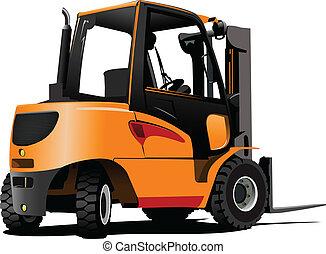 truck., levantamiento, vector, illus, forklift.