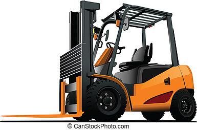 truck., lift, vektor, forklift., illust