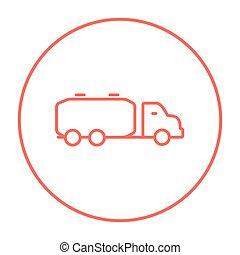 Truck liquid cargo line icon.