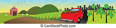 Truck load of produce from farm