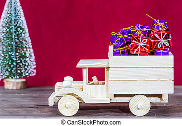 Truck loaded with gifts