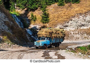 Truck loaded with hay rides on goderdzi pass, Ajara, Georgia