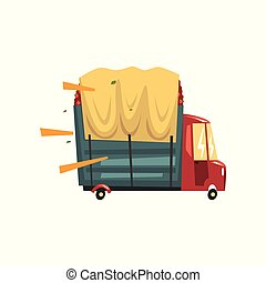 Truck loaded with red apples vector Illustration on a white background