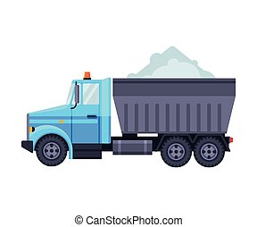Truck Loaded with Snow, Heavy Professional Cleaning Road Vehicle Vector Illustration