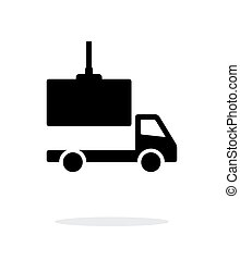 Truck loading simple icon on white background.