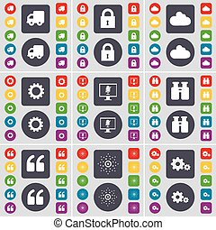 Truck, Lock, Cloud, Gear, Monitor, Binoculars, Quotation mark, Star, Gear icon symbol. A large set of flat, colored buttons for your design. Vector
