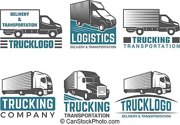 Truck logo. Business symbols emblems of transportation or logistics company with illustrations of various truck. Vector silhouettes
