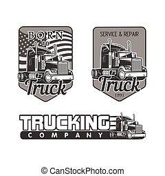 truck logo vector set black and white  illustration