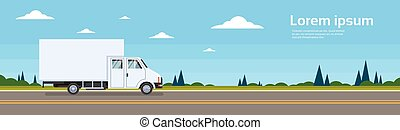 Truck Lorry Car On Road Cargo Shipping Delivery Banner Flat...