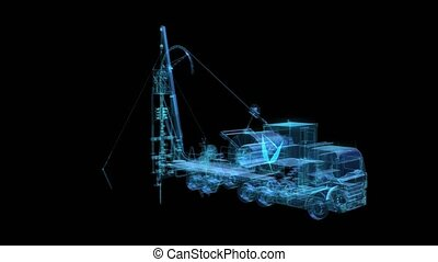 Truck machine for repair oil and gas field. Wire-Frame with oil equipment Solid Virtual Model. Digital technology visualization of 3d.