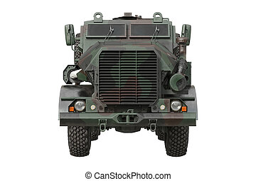 Truck military camouflaged car, front view