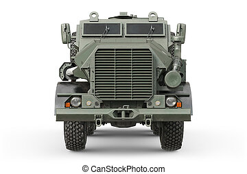 Truck military green car, front view