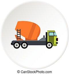Truck mixer icon circle