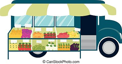 Truck Mobile Market Illustration