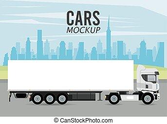 truck mockup car vehicle icon