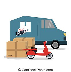 truck motorcycle box delivery icon