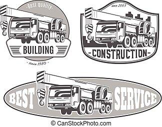 truck-mounted, crane., conjunto, de, vector, logos.