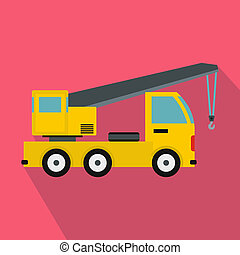 Truck mounted crane icon, flat style