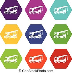 Truck mounted crane icon set color hexahedron
