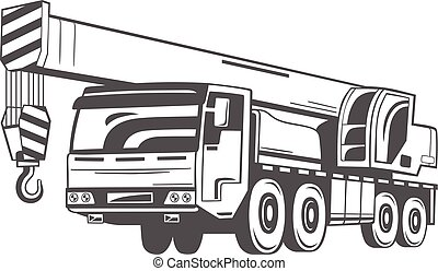 truck-mounted, crane., vector, illustration.