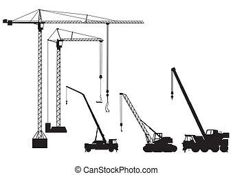 truck-mounted, grúa, y, grúa de torre