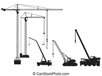 truck-mounted, kran, och, torn lyftkran
