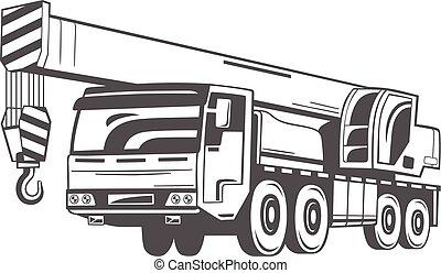 truck-mounted, vecteur, crane., illustration.