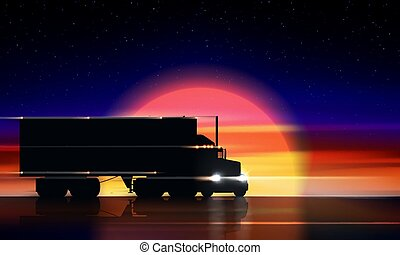 Truck moves on the highway at sunset. Classic big rig semi truck with headlights and dry van in the dark on the night road on the background of a colorful sunset and starry sky, vector illustration