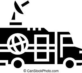 truck news glyph icon vector illustration