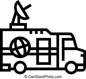 truck news line icon vector illustration