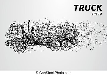 Truck of the particles. The silhouette of a truck consists of circles and points. Vector illustration.