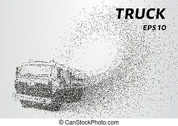 Truck of the particles. The silhouette of a truck consists of circles and points. Vector illustration