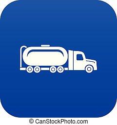 Truck oil icon blue vector