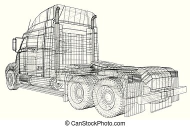 Truck, Oil trailer. Gasoline tanker. Created illustration of 3d. Wire-frame.