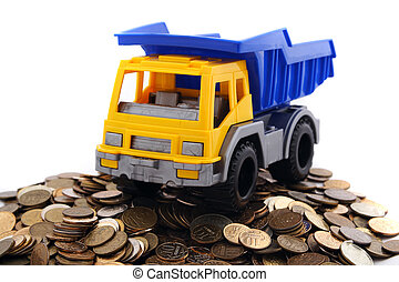 truck on a pile of money
