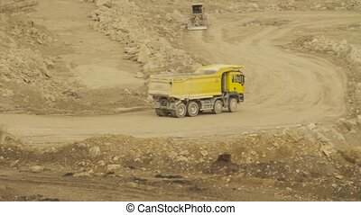 Truck on a road in quarry