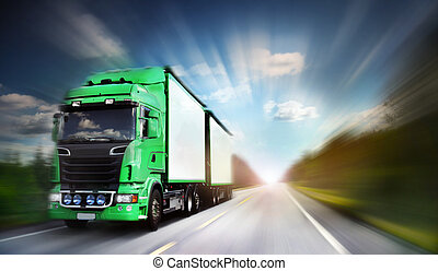 Truck on freeway -  truck on freeway, blurred motion