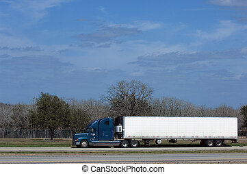 Truck on highway - Truck with blank space on american...