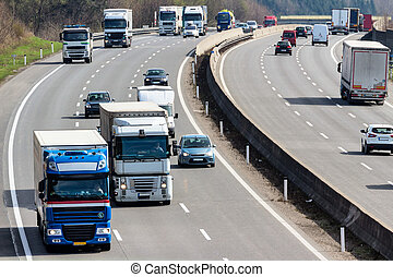 truck on highway - trucks on the highway. road transport for...