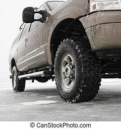 Truck on ice.