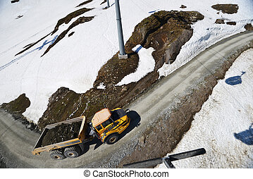 Truck on mountain road