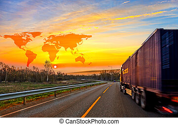 Truck on road and World map background - shipping travel...