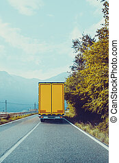 truck on road. Cargo transportation