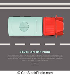 Truck on Road Conceptual Flat Vector Web Banner