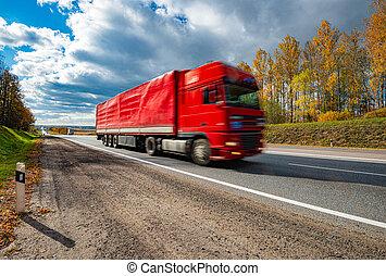 Truck on road in Bavaria, Germany, Europe