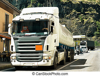 Truck on road in Visp Valais canton of Switzerland - Truck...